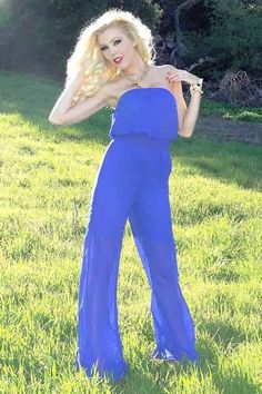 Chic Chiffon Jumpsuit - Blue - I'm Haute - Super chic blue chiffon jumpsuit featuring sheer legs & a cinched waist. This fabulous oufit has a fully lined top & shorts section. The sheer chiffon legs add a but of sexy edge to this incredibly chic jumpsuit. Perfect paired with cat-eye liner and our vegan leather skull clutch! Made in the USA.
