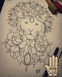 lion tattoo idea, peony flowers, mandala, lace drawing