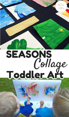 Learning about the seasons and weather with this collage painting that was perfect for toddlers and kids to express their creativity with art. Color Activities For Toddlers, Toddler Learning Activities, Rainy Day Activities, Stem Activities, Toddler Art, Toddler Crafts, Diy Crafts For Kids, Art For Kids, Craft Ideas