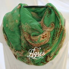 Brown and Gold Paisley on Green Novelty Fashion Infinity by elgies