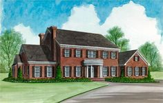 A beautiful Colonial house plan with a great floor plan. A center staircase carries you to the second level where three bedroom suites are located, all of...
