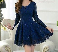 sapphire lace dress blue mini dress / Long Sleeved blue Lace Chiffon Dress / Little navy Dress / navy Fit and Flare Dress