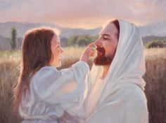 Jesus Christ – Gentle Touch Painting - A fine art painting of a young girl gently playing with Christ. Painting by Karen Foster. Many sizes available framed or as a canvas wrap or single print. Jesus Christ Lds, Pictures Of Jesus Christ, God Jesus, Savior, Jesus Girl, Jesus Father, Jesus Scriptures, Images Of Christ, Jesus Wallpaper
