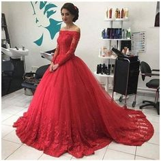 Ball Gown Off-the-Shoulder Long Sleeves Lace Tulle Sweep/Brush Train... (€130) ❤ liked on Polyvore featuring dresses, gowns, red long sleeve dress, off-shoulder lace dresses, red off the shoulder dress, off the shoulder lace dress and red long sleeve gown