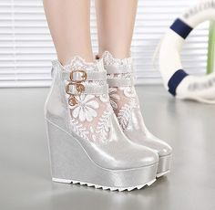 Gorgeous Platform Boots with Lace Detail