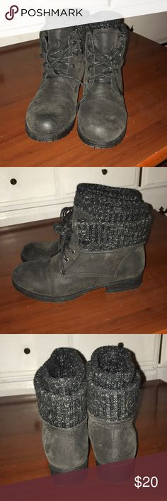 Black combat ankle boots Worn once! From JC Penny Shoes Combat   Moto Boots fe43b9ee0f611