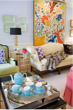 Style Stalking: Liz Caan Interiors  What's NOT to like about this great space? LOVE the Tea Set with the piece of Abstract Art in the background.. a neat juxtaposition that I totally understand!