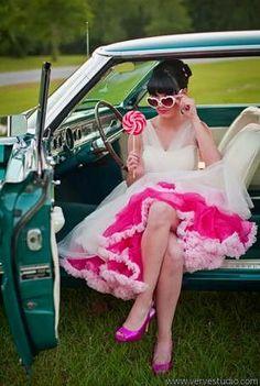 Pink Petticoat under Dress and Pink High Heels would make Julia feel so feminine