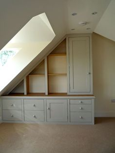 We specialise in designing, making and fitting of furniture for attic and under eaves cupboards to create bedrooms, dens and home offices. Under stairs cubp