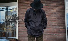 "BLACK SIGN ""French Worker Gather Shirt""#blcksign"