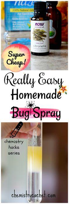 Really Easy Homemade Bug Spray that's SUPER cheap too! DIY Bug Spray on chemistrycachet.com