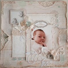 New Beginnings - My Petri-Dish Baby lots of prima, flowers, resin, papers. Shabby chic scrapbook page baby embryo