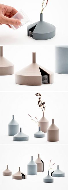 After working on many 3D-printed prototypes, designer Kazuya Koike sought out to finally create a truly usable product that could be mass produced with the same 3D tech. The result is this unique twist on the decor, dubbed the 'Unfinished Vase.' The minimalistic design features a uniform aesthetic in tonal blue and rose colors. It earns its namesake for the missing wedge at the base that leaves a vessel for water exposed yet easily accessible. Ceramic Design, Ceramic Art, Industrial Design Sketch, Concrete Design, Minimal Design, Interior Architecture, 3d Printing, Cool Designs, Furniture Design