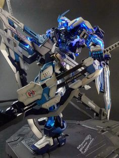 MG 1/100 Gundam Red Frame Astray with Custom Caletvwlch Sword + LED Custom Build  by Riccardo Forni     Excellent use of blue LED lights, it...