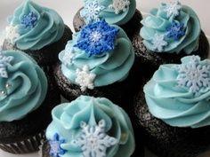Lots of Blue Snowflake Cupcakes