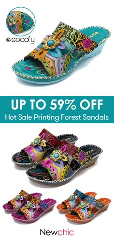 SOCOFY Bohemian Leather Adjustable Hook Loop Printing Forest Sandals is comfortable to wear. Shop on NewChic to see other cheap women sandals on sale. Shoe Boots, Shoes Sandals, Flats, Designer Anarkali Dresses, Splendid Shoes, Handmade Leather Shoes, Toms Outlet, Shops, Spring Summer Trends