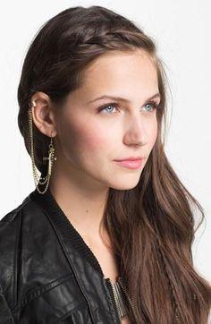 BP. Cross Chain Ear Cuff