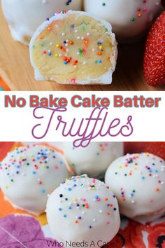 No-Bake Cake Batter Truffles ~ If you love cookie dough, cake batter, and no-bake desserts, these truffles will make your day!!! #nobaketruffles #cakebattertruffles #nobakedessert Best Dessert Recipes, Candy Recipes, Fall Recipes, Baking Recipes, No Bake Truffles, Cake Batter Truffles, No Bake Treats, No Bake Desserts, Slow Cooker Freezer Meals