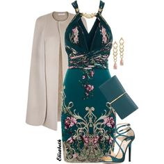 Embellished dress by lbite on Polyvore featuring мода, Roberto Cavalli, Jimmy Choo and Nina Ricci