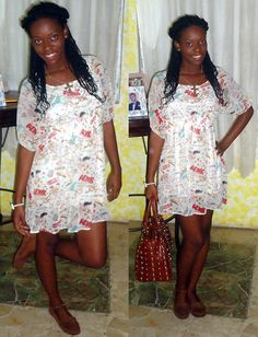 Brown Studded Bag, Brown Moccasins, H&M Printed Dress, Gold Cross Neckless