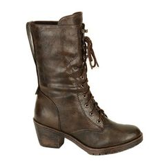 Combat boots with cowboy bottom and flip over upper