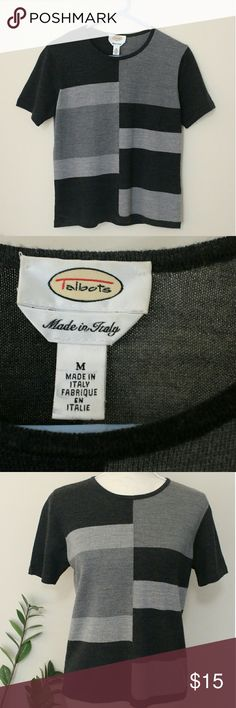 """Talbots Women's Merino Wool Gray Top Size M Made in Italy. Women's super soft merino wool short sleeve tee by Talbots in size Medium and different shades of gray. Perfect for any day. Lightly worn, in great condition.  ℹ Chest 18"""", Length 21.5 measured flat ℹ 100% merino wool Talbots Tops Tees - Short Sleeve"""