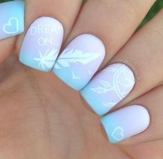 When it comes to nail art or manicures, there are so many choices. Feather design is one of the most popular nail art trend these days. Take a look at these creative feather nail art designs, which will make your nails truly stand out. Beautiful Nail Designs, Cool Nail Designs, Acrylic Nail Designs, Cute Nail Art, Cute Nails, Pretty Nails, Dream Catcher Nails, Dream Catchers, Feather Nail Art