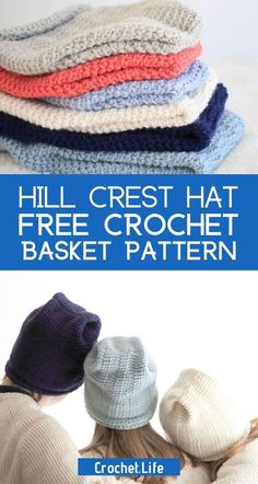 This free crochet hat pattern is a perfect project for a short amount of time. Available in 4 sizes, it is a super cute addition to your project basket! Crochet Basket Pattern, Easy Crochet Patterns, Crochet Hooks, Free Crochet, Stitch Patterns, Amazing Crafts, Mittens Pattern, Create And Craft, Stitch Markers