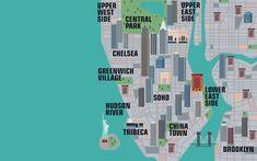 Illustrated map of Manhattan, New York City