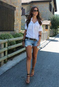 Bershka  Shirt / Blouses, Stradivarius  Shorts and Zara  Heels / Wedges