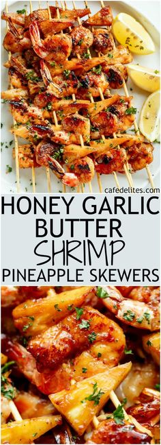 Honey Garlic Butter Shrimp Pineapple Skewers are cooked in the most incredible h. - Honey Garlic Butter Shrimp Pineapple Skewers are cooked in the most incredible honey garlic butter - Marinated Grilled Shrimp, Grilled Shrimp Recipes, Grilled Salmon, Baked Salmon, Honey Shrimp, Garlic Butter Shrimp, Sweet Shrimp, Butter Salmon, Grilling Recipes