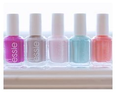 essie nail polish. neon, neutral, pinks, coral, mint green.