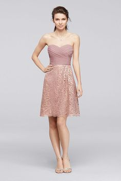 2cdd4a28e7 Short Metallic Lace Bridesmaid Dress with Pleating Style F19217M