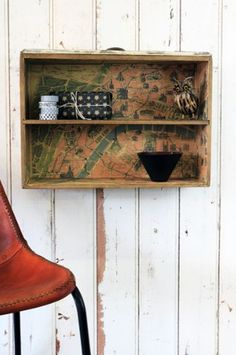 DIY idea - Vintage Style Drawer Shelf with French Map Lining