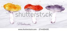 Mushrooms set drawn watercolor blots and stains with a spray