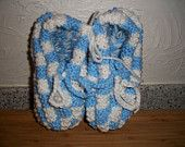 Hand knit Blue & White Comfy Cozy Booties! $25 Shipping Included