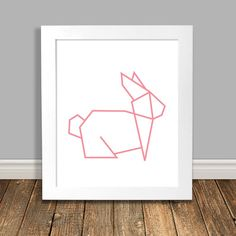 New to HappyHippoArts on Etsy: Bunny Nursery Art Geometric Art Origami Bunny Rabbit Pink Nursery Art Animal Nursery Art Printable Art Downloadable - 8x10 11x14 (6.50 CAD)