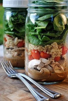 for making salads in mason jars at the beginning of the week that way you can just grab it from the fridge already prepared!