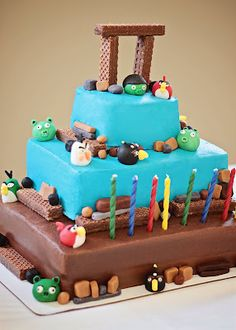 Angry Birds Cake - love the idea of using Nutty Bars.