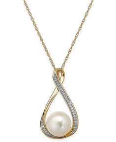 Cultured Freshwater Pearl (9mm) and Diamond Accent Pendant Necklace in 14k Gold - Necklaces - Jewelry & Watches - Macy's