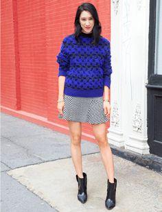 Sportmax cobalt blue sweater x Ann Taylor print skirt :: Eva Chen from Lucky Magazine, November 2013
