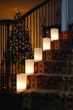 Paper luminary bags with battery candles to decorate staircase Battery Candles, Candle Lanterns, Paper Lanterns, Wedding Lanterns, Votive Candles, Engagement Party Favors, Wedding Favors, Wedding Ideas, Wedding Supplies