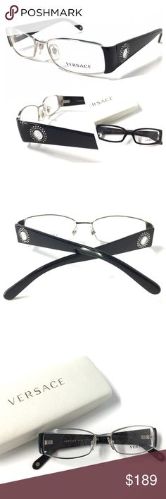 cd4a81ab8 VERSACE Women's Eyeglasses NWOT Silver Black VERSACE Women's Eyeglasses  Optical Frame Silver Black 51mm-16mm