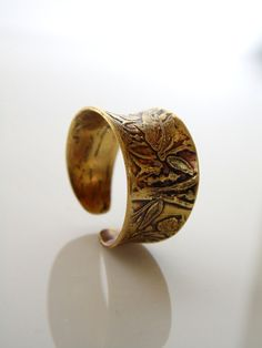 Brass Ring Wide Band Ring Etched Brass Ring by lululovestocreate