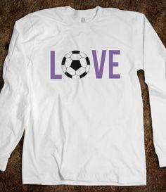 Love Soccer Long Sleeve Tee (purple) #skreened #love #soccer