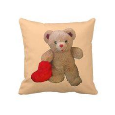 Big Heart Bear Throw Pillow