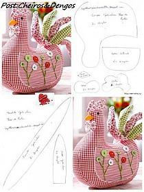 Fabric chicken Very cute pattern for a door stop! Check out other Quilting from pins.