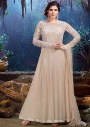 Party Wear Georgette Beige Embroidered Work Anarkali Suit
