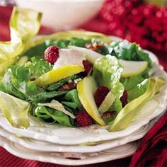 Pear Salad with raspberry cream. My mom makes this as a starter for Thanksgiving every year.