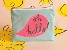 Oh Hello! illustrated printed cotton coin purse www.sarikathakorlal.com